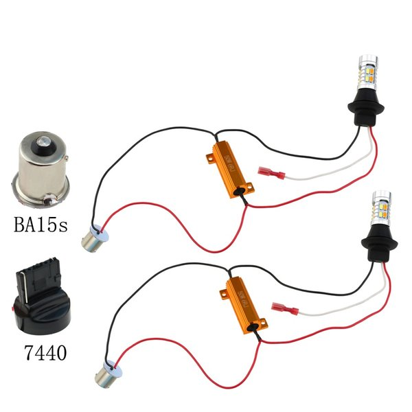 2pcs 1156 ba15s bau15s T20 W21W P21W Py21w 20smd 5630 6000k White+Yellow LED Bulb Turn Signal Light Error Free DRL