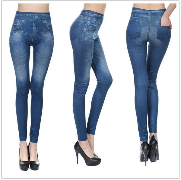 Europe and the United States explosion models seamless high-elastic imitation denim print leggings women wearing fleece pockets nine pants