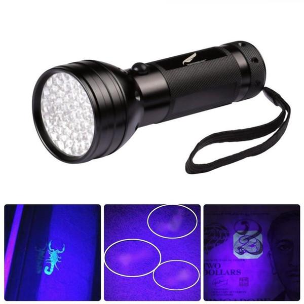 Uv Led Linterna 51 Leds 395nm Violeta Antorcha Lámpara de luz Detector de luz negra para la orina del perro Mascotas Manchas y cama Bug Linterna K194