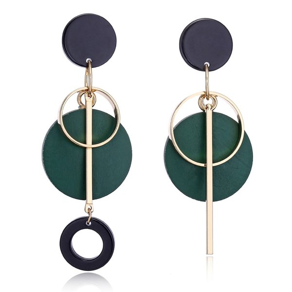Fashion Statement Drop Round Wood Earrings for Women Geometry Hollow Alloy Dangle Earring Ethnic Jewelry Gifts
