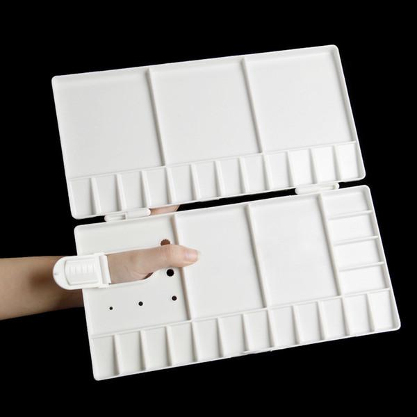 1 piezas 33 rejillas bandeja de pintura de arte grande artista aceite acuarela paleta de plástico blanco bandeja de pintura de arte grande herramienta de dibujo de artista