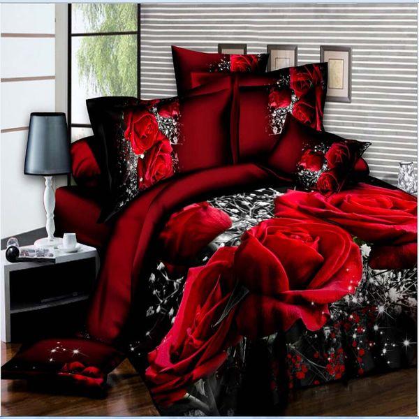 Luxury Smart 3d bedding set bedclothes 4pcs bed set Duvet Cover flat sheet Home Textiles pillowcase Queen size Flowe Rose flower