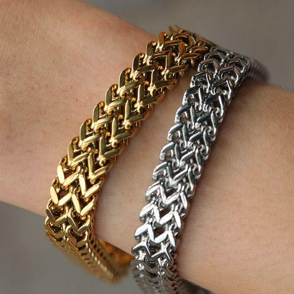 Correntes de aço de Moda de Nova Titanium Stainless Franco Hop banhado a ouro pulseira pesado Rua Rapper pulseira de cadeia de jóias presentes de Hip para homens