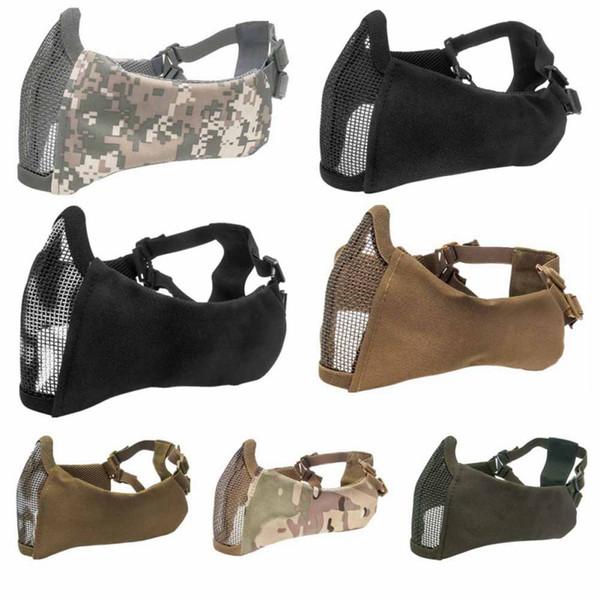 Proteção de Ouvido tático meia-cara máscara de malha Caça Protetora Máscara Capa Metade do Rosto de Metal Malha De Rede de Aço