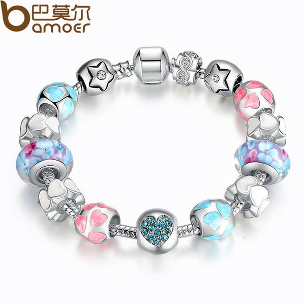 """BAMOER Aliexpress Silver Heart Start Crystals """"LOVE"""" Colorful Girl Murano Beads Bracelet for New Year Gift PA1871 C18122801"""