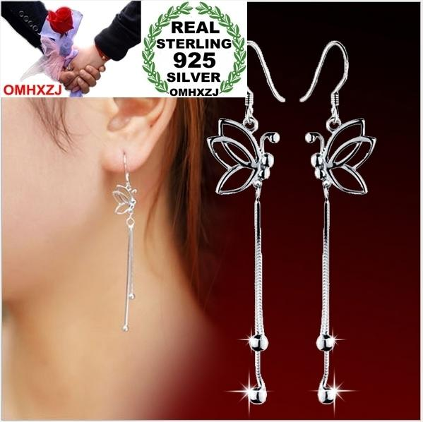 OMHXZJ WHOLESALE girl a woman Fashion jewelry butterfly long tassel Bohemia 925 Sterling Silver Stud Earrings YS81