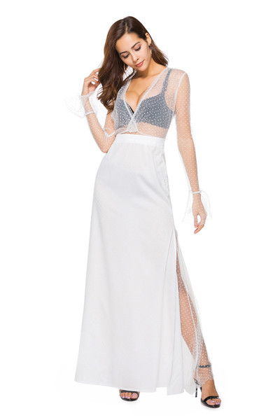 Evening Dress Long Sleeve Flare Sleeve Mesh Lace Dress and White Split Skirt Set for Women Lady Female