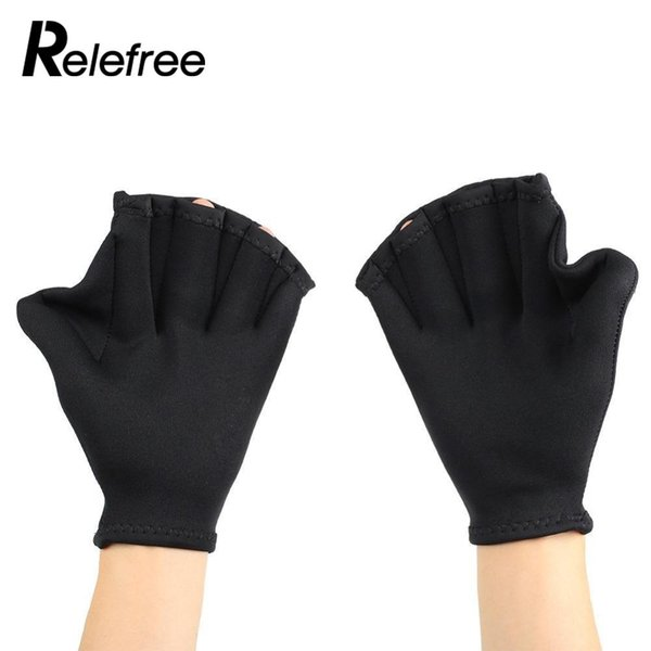 Relefree 1 paio Nuoto Surfing Immersioni Handling Pinne Swim Finger Frog Webbed Gloves Paddle Palm