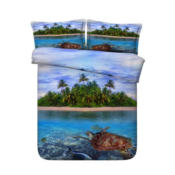 1 Copripiumino 2 Guanciale Cuscino Oceano Animali Pesci Letto Set Tartaruga Nuoto in Blu Mare Mondo Coral Coastal Style copriletto tartaruga king