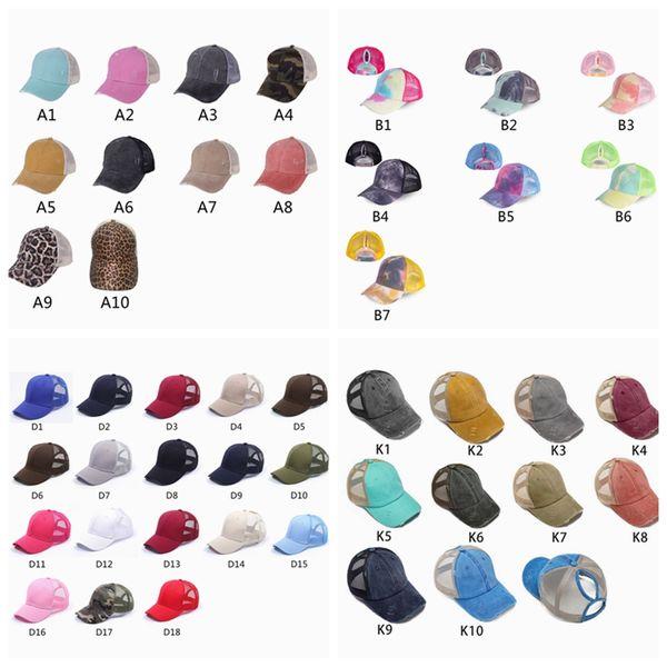 top popular Ponytail Baseball Caps Gliter Messy Bun Hats Washed Cotton Tie Dye Snapbacks Leopard Sun Visor Outdoor Hat Party Hats ZZA2050 2021