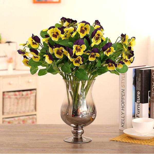 Compre Arreglos Florales De Orquídeas Ilk Jarown Pansy Artificial Flores De Seda Polilla Phalaenopsis Arreglo De Orquídeas Para La Oficina En Casa