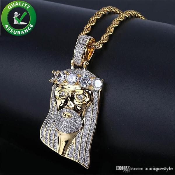 Joyería de Hip Hop para hombre Helado hacia fuera Colgante Diseñador de lujo Collar Diamante Corona Jesús Faraón Cadena de oro Colgante Micro Pave CZ Encantos de moda