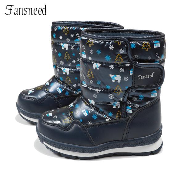 Fansneed Scarponi da neve per bambini Ragazze Pure Wool Warm Winter Boots Scarpe impermeabili in pelle stampa carina Warm -30 Degree Winter Y18110304