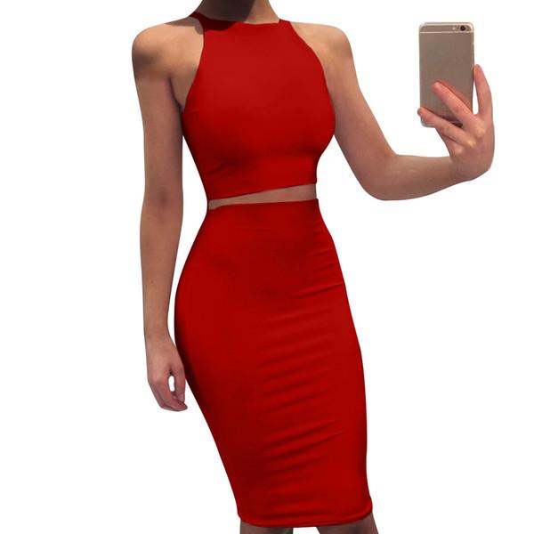 Compre 2019 4 Cores Modelos De Explosão Das Mulheres Em Torno Do Pescoço Sem Mangas Terno Midi Saia Magro Vestido De Duas Peças Colete De