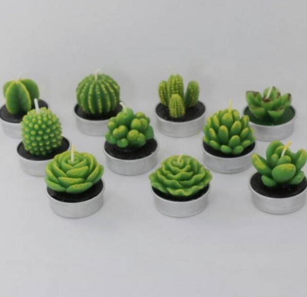 best selling 6Pcs Succulent Plants Mold Cactus DIY Aroma Gypsum Plaster Silicone Candle Molds Home Wedding Birthday Party Decoration