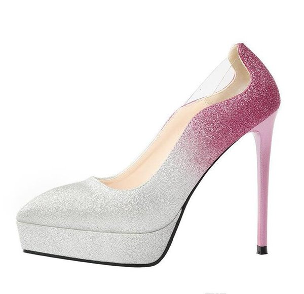 glitter sequined gradient silver bridal wedding shoes women platform pointed high heel shoes women designer shoes size 34 to 39