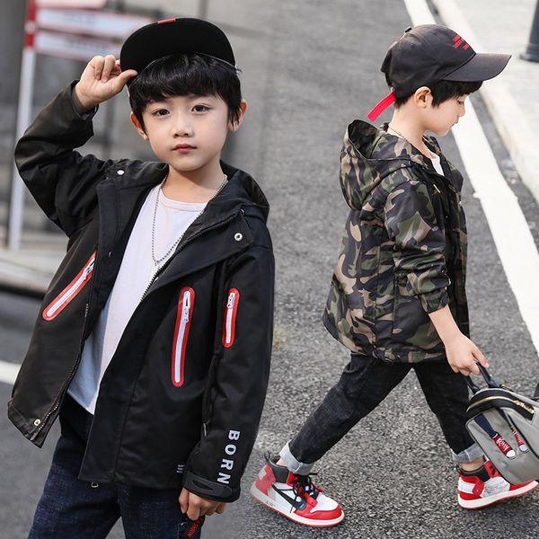 Baby Boys Clothing Spring/Autumn Newest Zipper Windbreaker Boy Casual Student Joker Jacket Black/Camouflage Breathable Jacket