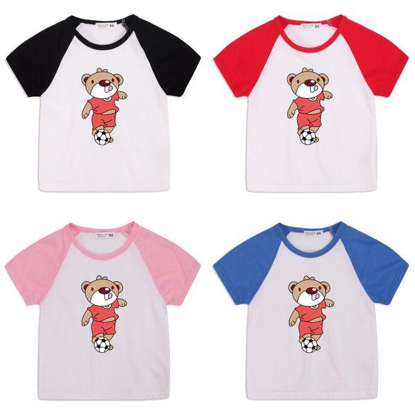 best selling Kids Cartoon Bear T Shirt Child Summer Short Sleeves Boys Tshirt Bear Print Round Neck Cotton Tops Kids Designer Clothes Boys