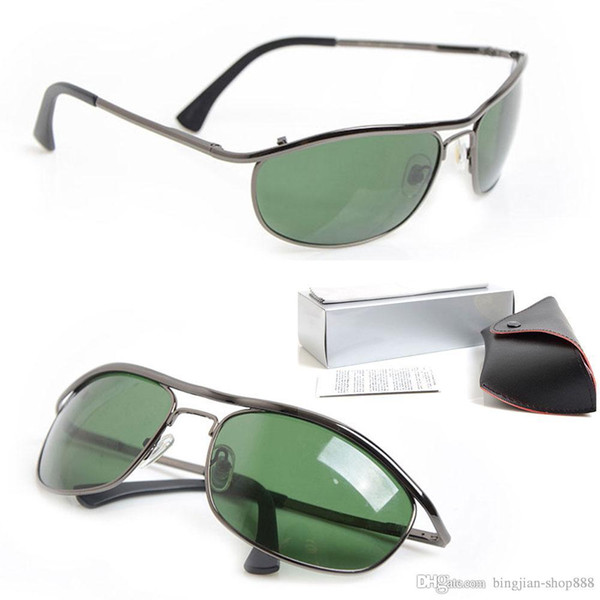 10PCS Nuevas gafas de sol de diseñador 8012 Gafas de sol para hombre Gafas para mujer de marca Lente de vidrio verde gafas de sol unisex Gafas de piloto clásicas con caja