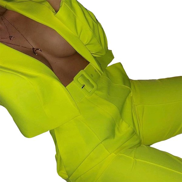 Autumn Winter Women Tracksuits Long Sleeve Short Blazers Long Pant Office Lady Women's Sets Blazer Neon Streetwear Outfits GV618