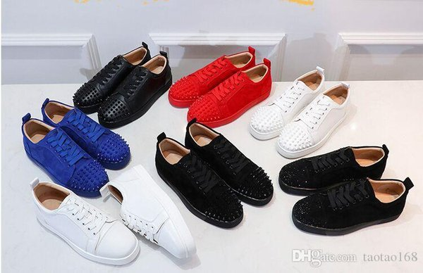 2019 Sneakers Shoes for Men Casual Women mens Blue Crystal Outdoors red bottom designer chaussures zapatillas Size 35-46