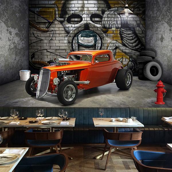 Personalizado 3D Murais de Parede Papel De Parede Criativo Espaço Estereoscópico Crânio Do Carro Rua Graffiti Art Restaurante Fundo Pintura De Parede