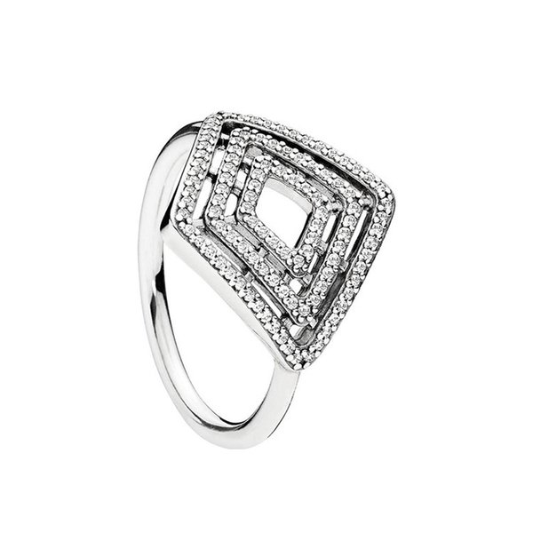 Authentic 925 Sterling Silver CZ Diamond RING Set Original Box for Pandora Geometric Lines Ring for Women Girls