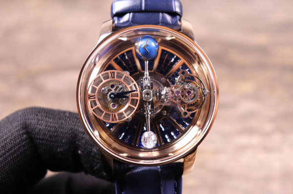 Quarz-Batterie passt Männer Art- und Weiseuhr-Edelstahl-Lederuhr Geschäfts-Armbanduhr reloj hombre auf Der Ball spinnt NICHT