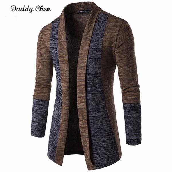 Casual männer jacke patchwork langarm 2018 herrenmode männer graben herbst baumwolle homme mode grau öffnen stich mantel oberbekleidung