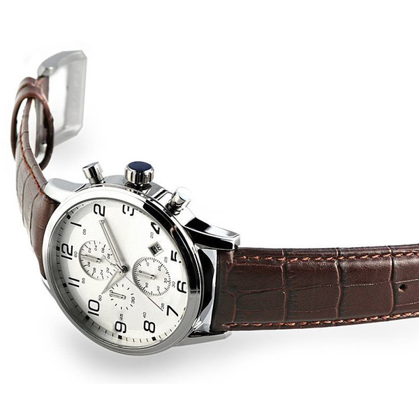 New Brown Collection Chronograph Men's Watch 1512447 Leather Strap Wristwatch+ORIGINAL BOX free DHL shipping