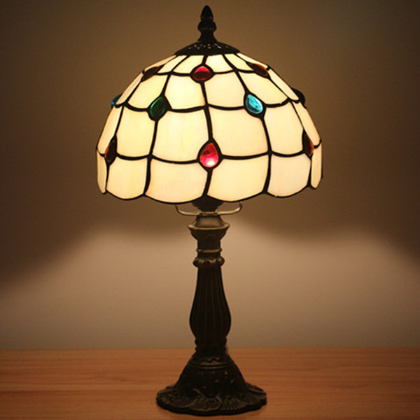 8 Inch Fashion Creative Vintage Table Lamp Bedroom Bedside Light European Children Room Warm White American Small Stained Glass Night Light