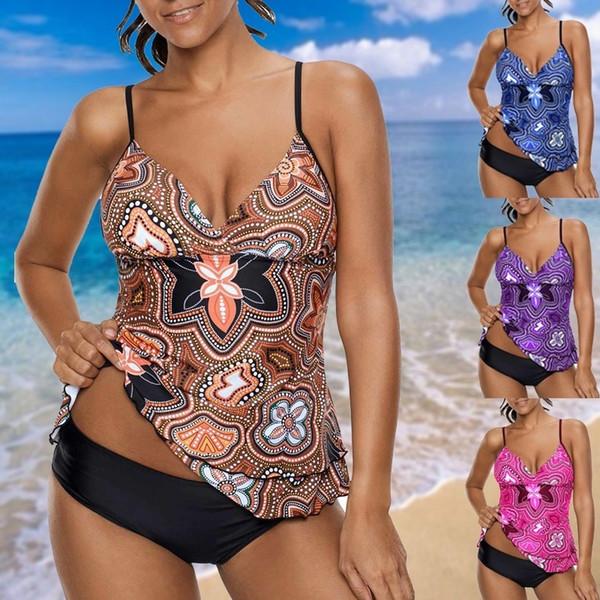 Esporte Grande Swimwear Sexy Plus Size Swimsuit Xxxxxl Biquini Praia Wear Impresso Cintas De Espaguete Em Camadas Tankini Set Q190518