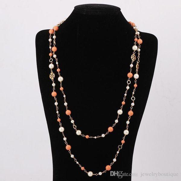 Pop perles de haute couture Pay4U Marque Perle 0.8cm Collier pull en 122cm doubles couches femmes cadeau de mariage bijoux PS5844