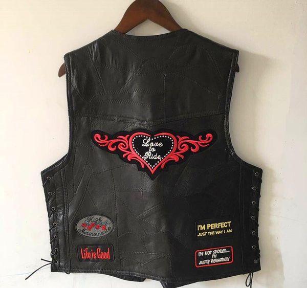 Hakiki Koyun Deri Punk Vest Gizli Yamalar Harley Motosiklet Ceketler Erkekler Rasgele Yelek Kolsuz Gömlek Yeni ile Biker Vest Carry