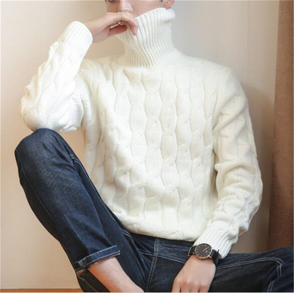 best selling New Winter Pullover Men Sweater Coat Knitted Turtleneck Men Sweater Man Solid High Collar Mens Turtleneck Sweaters