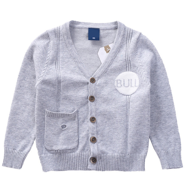 2019 Spring Autumn Knitted cardigan Boys Sweater Children Clothing Baby Long sleeve letter Coat warm Kids V Neck Clothes jacket