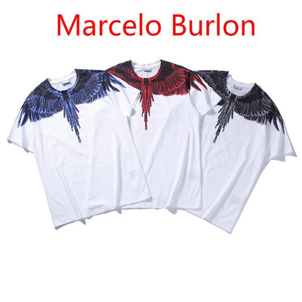 New Marcelo Burlon T Shirt Men Women Streetwear MB T-shirt Feather Wings Italy Brand High Quality Cotton Marcelo Burlon Tshirt