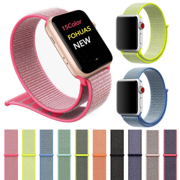 Weiche, atmungsaktive Sport-Nylonschlaufe, verstellbarer Verschluss, Handschlaufe für Apple Watch iWatch-Armband 42 mm, 38 mm