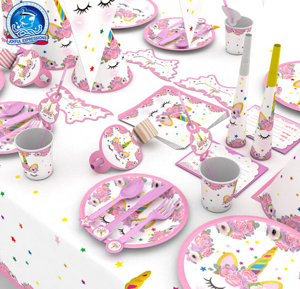 Cartoon Unicorn Party Decoration Set Gold Pink Unicorn Horse Tableware Sets Kids Birthday Party Supplies Cute Napkin Gift Bag Decor Set