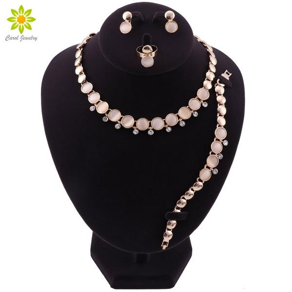 Ciondolo opale Pietra Collane Orecchini Bracciale Anello Perline africane Set di gioielli per le donne Gioielli da sposa in cristallo