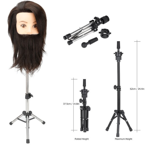 Adjustable Tripod for Training Head Mannequin Hairdressing Head Holder Clamp of Wig Stands