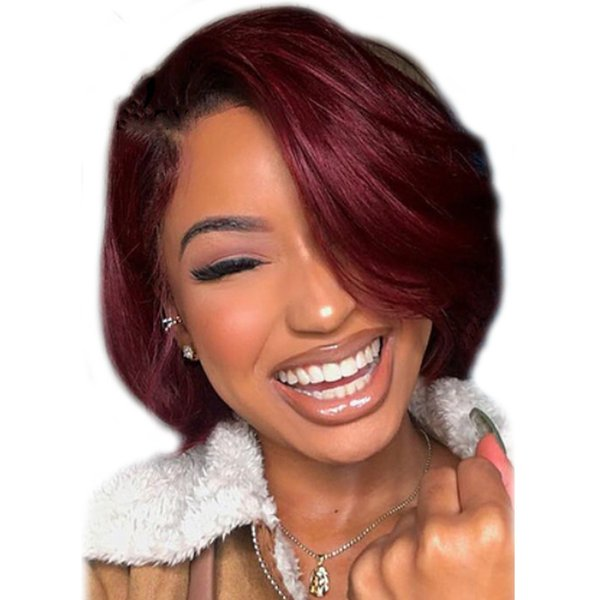 T1B/Burgundy Ombre Color Bob Wigs Pre Plucked Lace Front Human Hair Wigs Straight Lace Front Wig Glueless 99j Ombre Wig