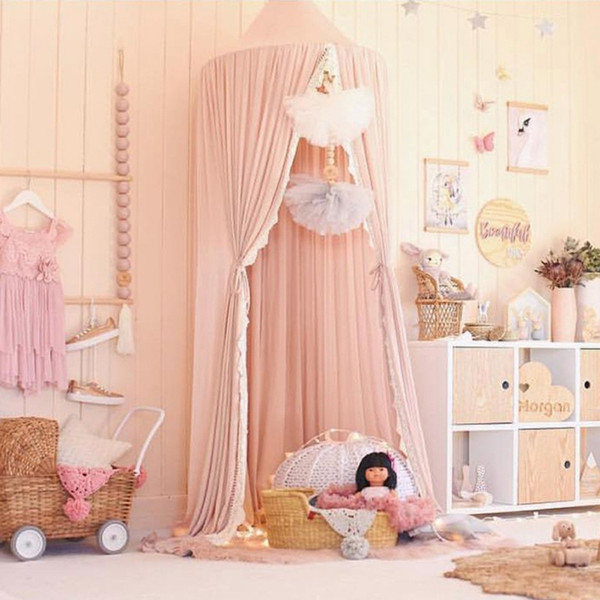 Lace Mosquito Net Baby Room Decoration Crib Netting Chiffon Kids Bed Curtain Canopy Round Crib Netting Tent Photography Props