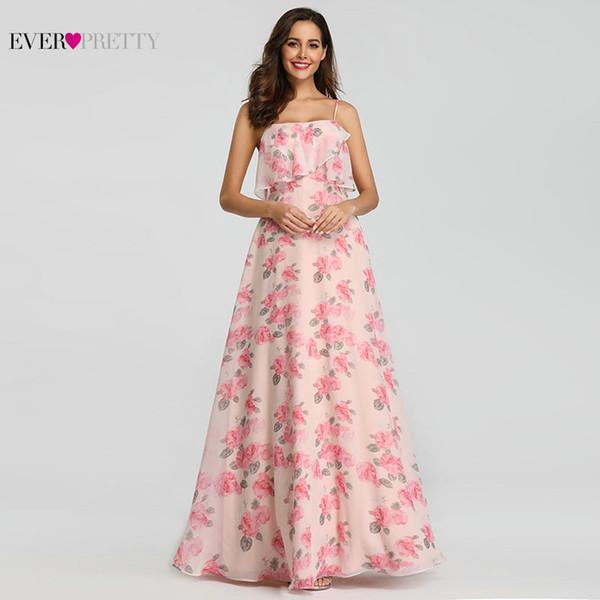 Compre Vestidos De Fiesta 2018 Largos Siempre Lindos Ep07236 Sexy A Line Correas Espaguetis Flor De Gasa Impreso Rosa Vestidos De Fiesta Elegantes A
