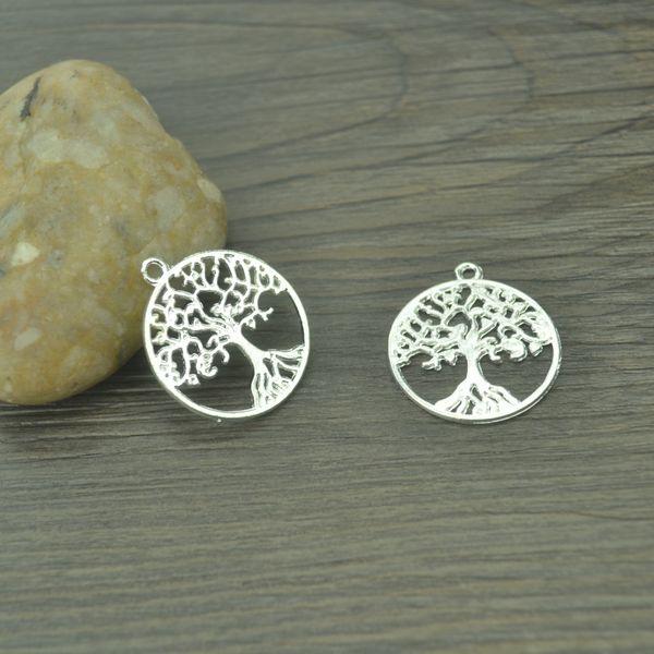 charm tree of life 50pcs Fashion metal silver plated charm Tree of Life pendants diy charms for jewelry making 29*26mm B4102