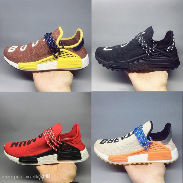 boxWilliams with best quality Pharrell Wholesale Hu trail NERD Men Running Shoes white noble ink core Black Red sports Shoes sneaker shoes