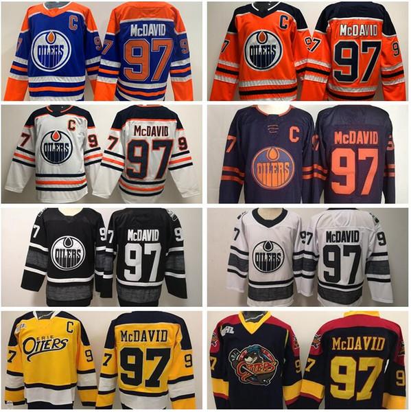 Oilers d'Edmonton Connor McDavid Maillot 97 College Otters Premier OHL Hockey sur glace 50ème anniversaire Orange Blanc Bleu Homme Femme Jeunesse