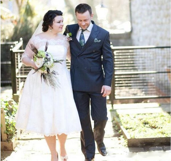 Plus Size A Line Wedding Dresses Illusion Half Sleeve 2019 New Tea Length Sheer Neck Lace Applique Romantic Garden Beach Bridal Gowns Custom