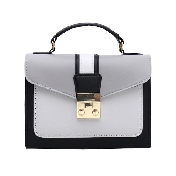 New contrast color handbag fashion simple trend single shoulder Messenger bag lock lock small bag style handbag