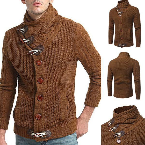 Nueva moda hombre cuello redondo suéter Cuerno botón Cardigans punto Todo prendas de abrigo Chaquetas Hombres Tops calientes